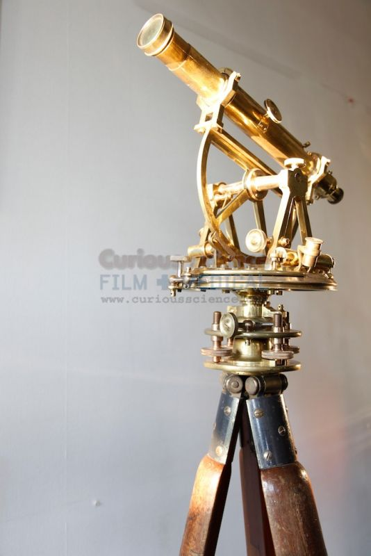 Period Brass Theodolite On Wooden Tripod Antique Telescopes