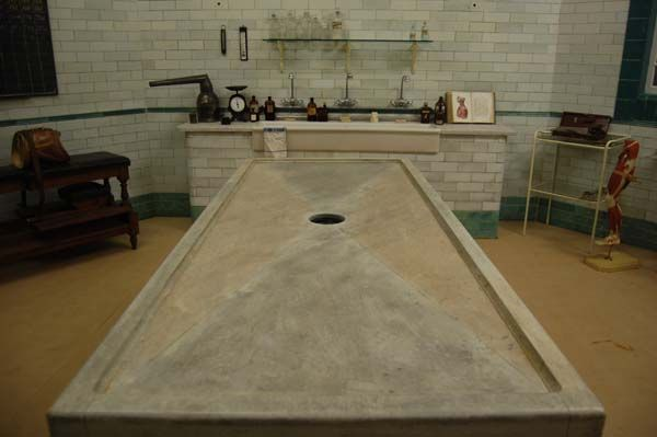 Marbled Mortuary Table In The Morgue Film Set Curious
