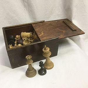 Vintage Chess Set In Wooden Box