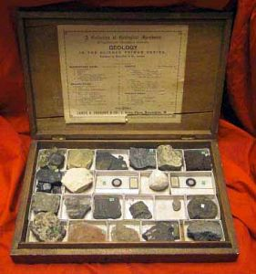 Antique Cased Set Of Mineral & Geology Specimens