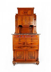 Period dental cabinet with marble top