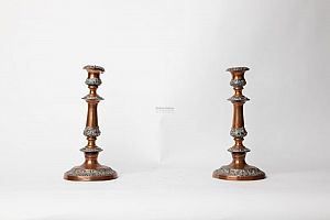 Copper and Sheffield plate candlesticks