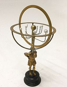 Desktop orrery on stand.