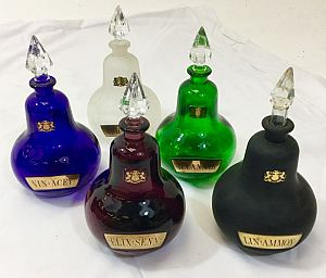 Coloured pharmacy bottles