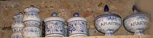 Blue and white drug jars 18th century
