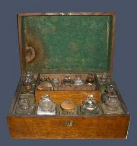 Oak medicine chest 19th c