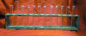 Laboratory Vintage Test Tubes In Wood Rack
