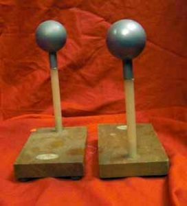 Old Metal Balls On Insulated Stands For Electrostatic Experiments